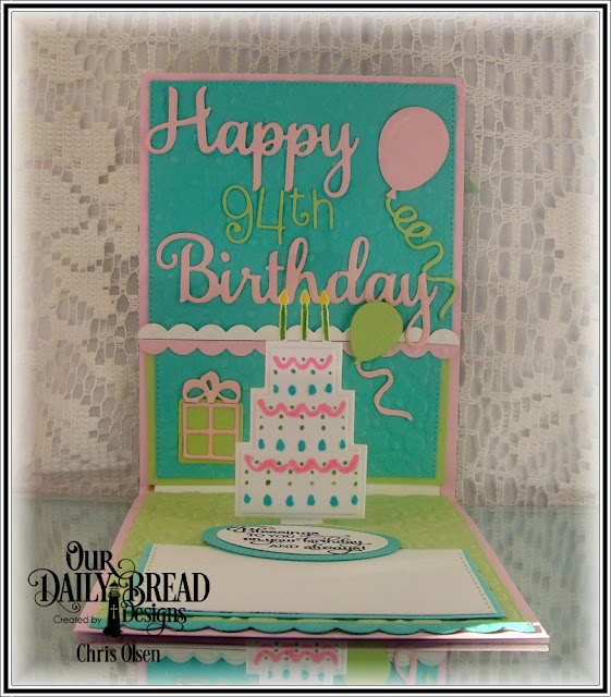 Our Daily Bread Designs, Happy Birthday die, Celebrate and Wish dies, Bitty Borders dies, Birthday Cakes die, Balloons and Streamers die, Ovals dies, Stitched Ovals dies, Stitched Rectangles dies, designed by Chris Olsen