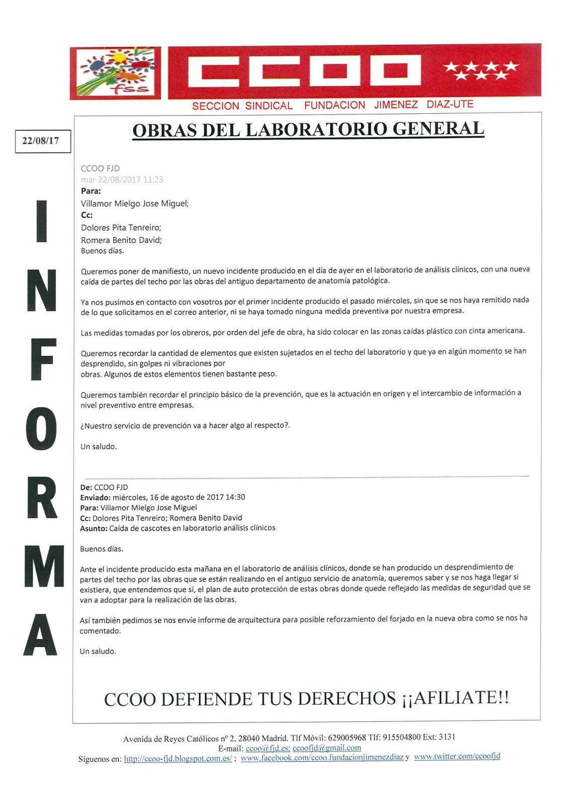 CCOO Fundación Jiménez Díaz: Obras del laboratorio general