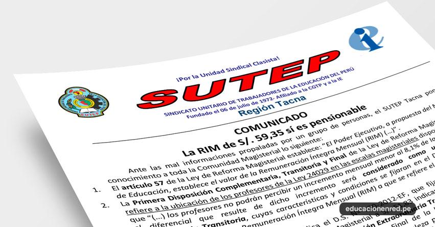 COMUNICADO SUTEP: La RIM de S/. 59,35 sí es pensionable