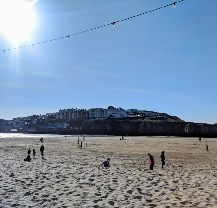 A Postcard from Perranporth Beach, Cornwall  - view from the watering hole