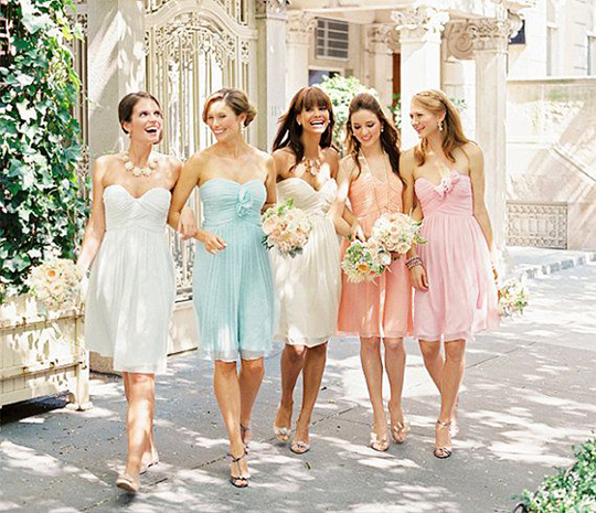bridesmaids with short dresses