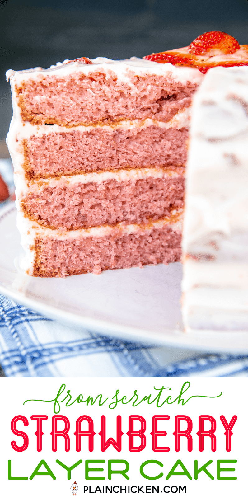 frosted strawberry layer cake