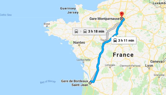Mapa viagem de trem de Paris a Bordeaux