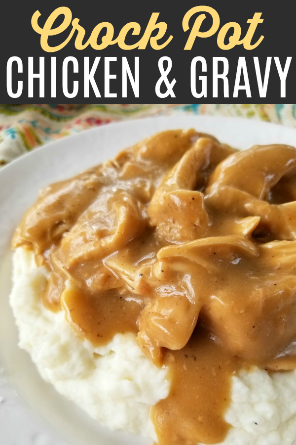 Crock Pot Chicken & Gravy | An easy and delicious slow cooker recipe for tender chicken with savory gravy perfect served over mashed potatoes, noodles or rice.