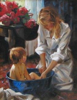 Подборка картин  «Купание детей в живописи»