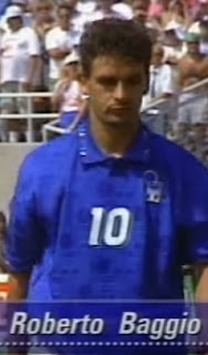Baggio prepares to take his fateful penalty at the 1994 World Cup