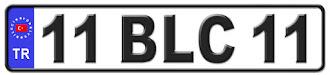 Bilecik il isminin kısaltma harflerinden oluşan 11 BLC 11 kodlu Bilecik plaka örneği