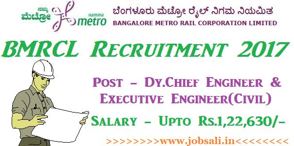 BMRCL Career, Bangalore Metro recruitment, Engineering jobs in Bangalore