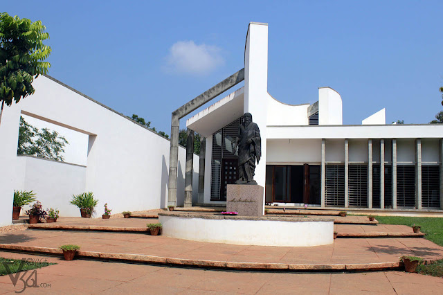 Sri Aurobindo Statue at the Savitri Bhavan-a centre for spiritual education located in The Unity Pavilon of Auroville
