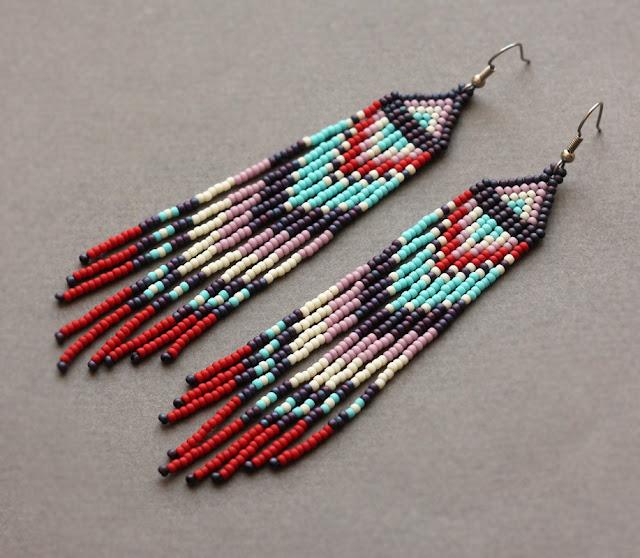 купить длинные бисерные серьги в интернет магазине этнической бижутерии ручной работы дорого