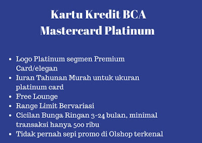 Keuntunggan Kartu Kredit BCA Mastercard Platinum