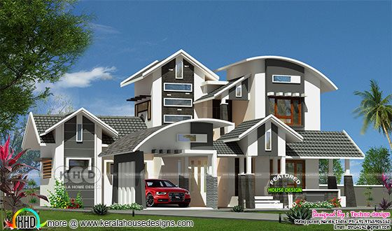 Mixed roof 4 bedroom house renering