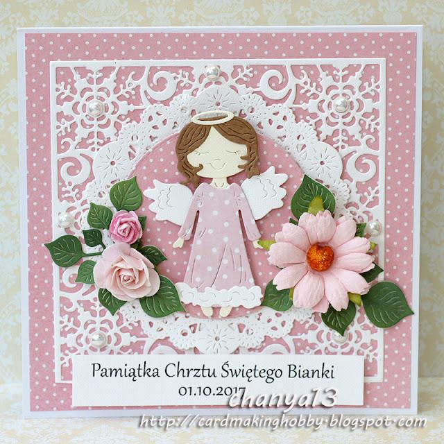 168. Kartka z okazji chrztu z aniołkiem