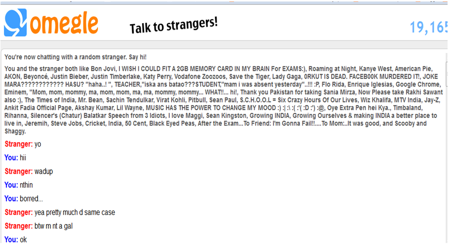Omegle face chat