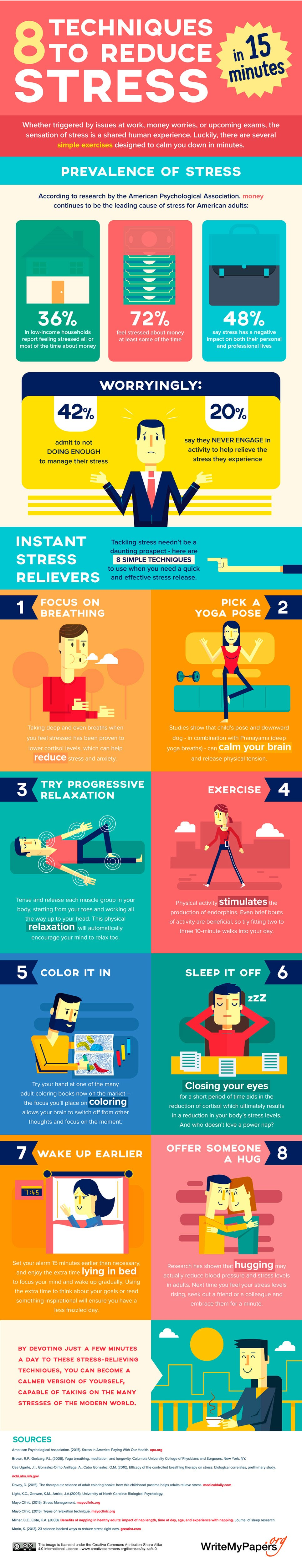 8 Techniques To Reduce Stress In 15 Minutes - #infographic