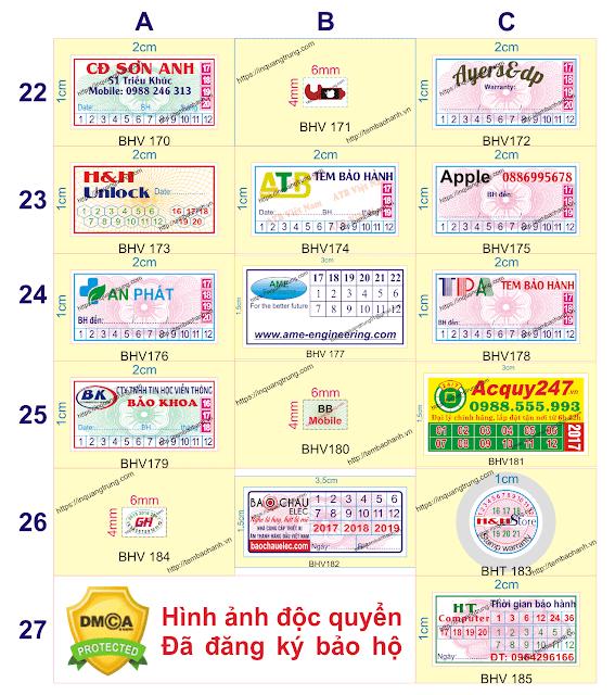 Mẫu tem bảo hành của In Quang Trung