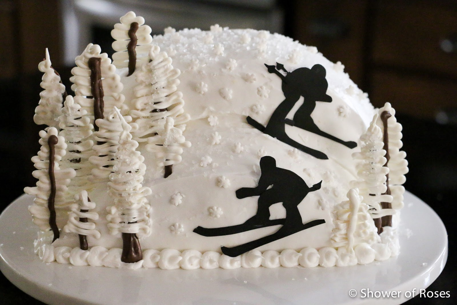Shower Of Roses Snowy Mountain Ski Resort Birthday Cake