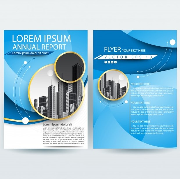 Business Brochure Template Curve Shapes Free Vector