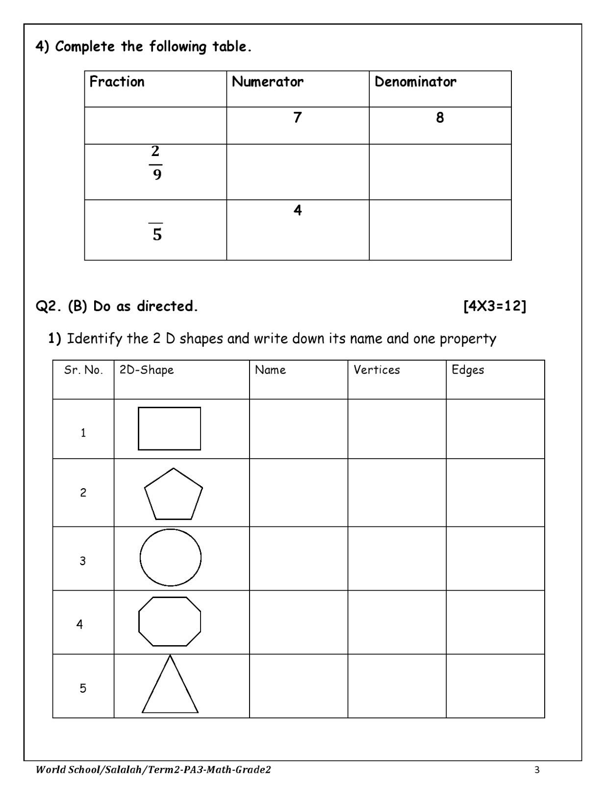 Birla World School Oman Homework For Grade 2 As On 08 02