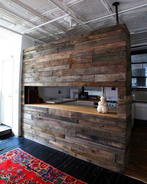 Cocina americana de madera hecha con palets construccion for Cocina americana de madera