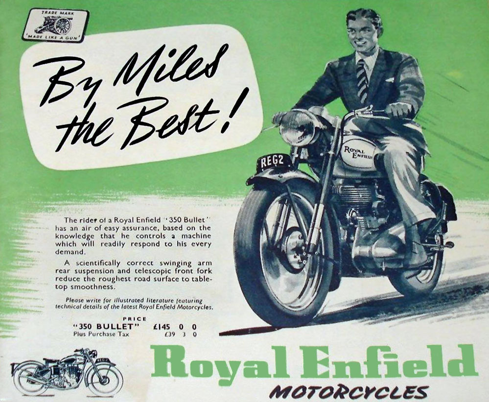Dapper gentleman in old Royal Enfield motorcycle ad.