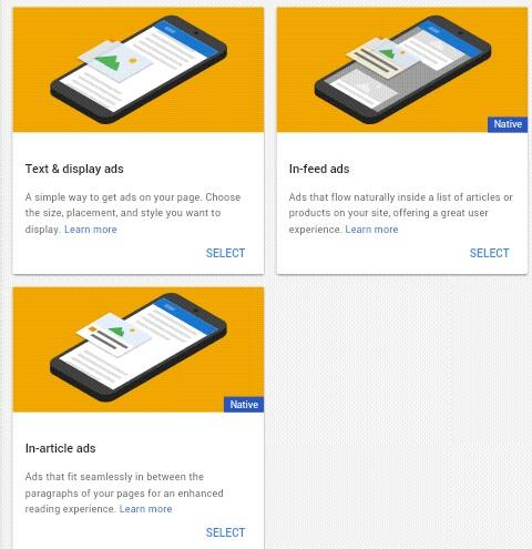 Slecet ads type text & display