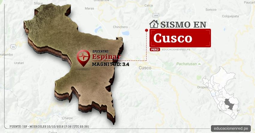Temblor en Cusco de magnitud 3.4 (Hoy Miércoles 10 Octubre 2018) Sismo EPICENTRO Espinar - Yauri - Huayhuahuasi - IGP - www.igp.gob.pe