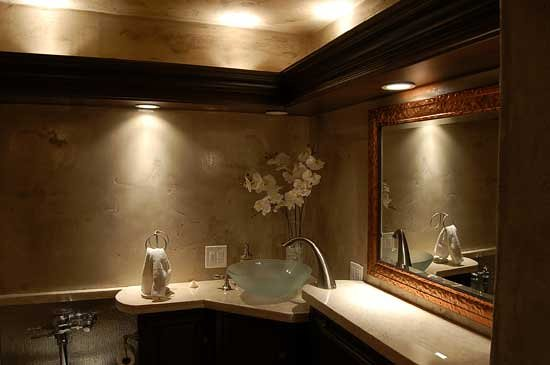 A Powder Room Is The Perfect Setting For A Beautiful Vessel Sink