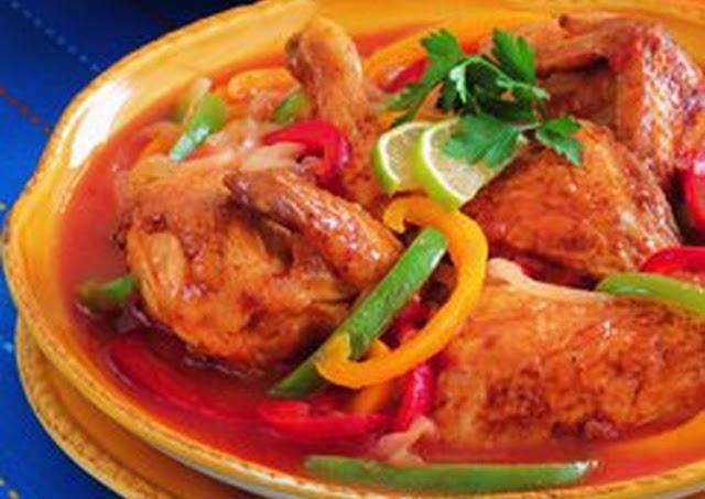 دجاج محمّر مع الصلصة المكسيكية