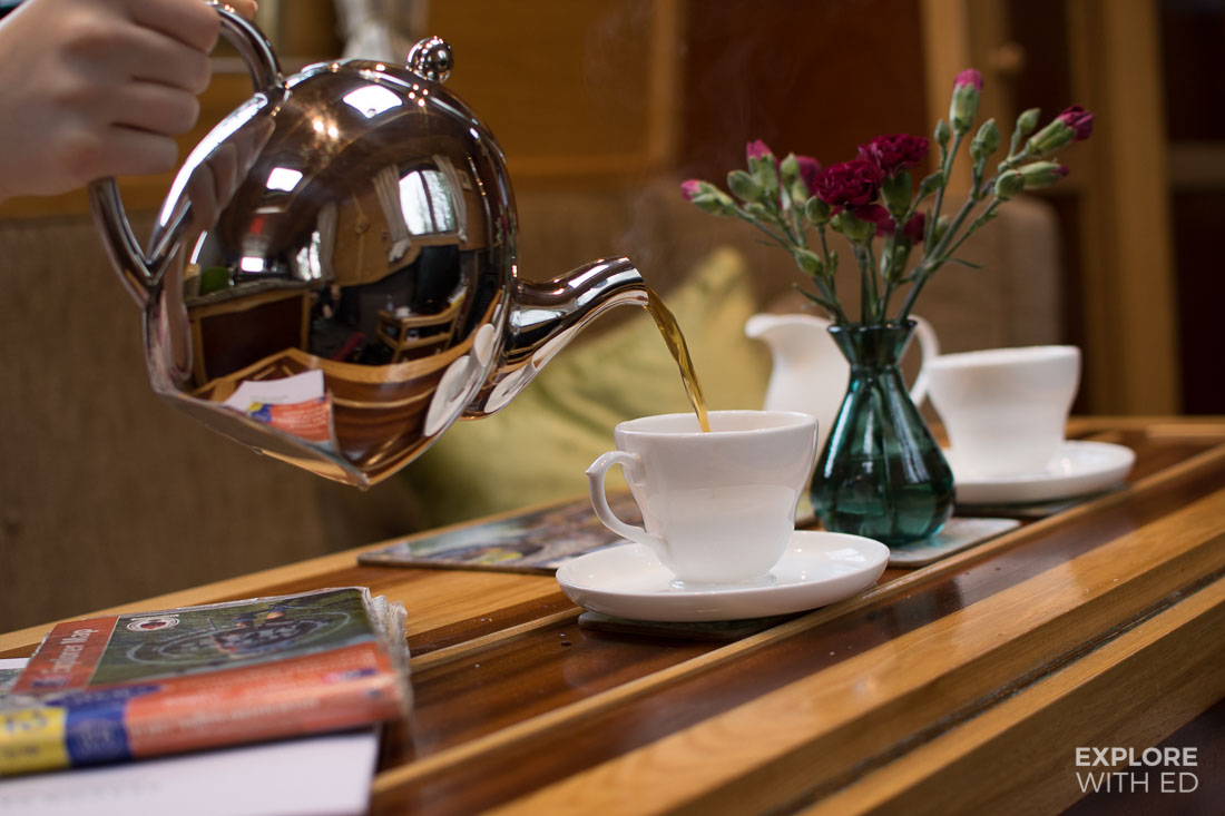 Pot of tea on a narrowboat