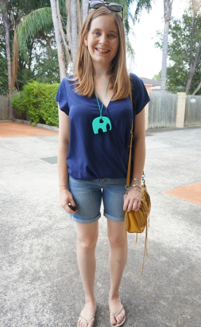 Atmos & Here Arlene wrap top in navy, Bermuda denim shorts Havaianas yellow bag | AwayFromBlue