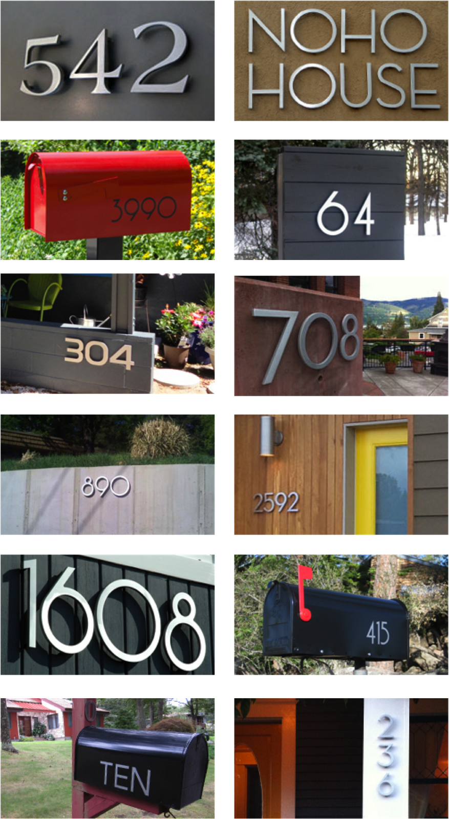 Red Solar House Numbers