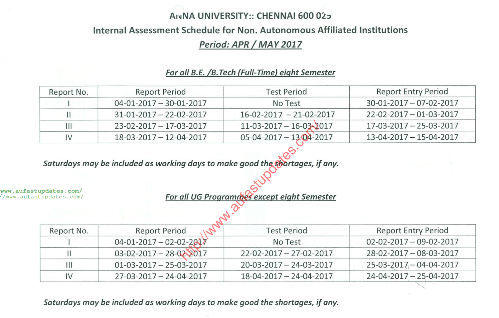Revised anna university internal assessment schedule for for 6th sem time table