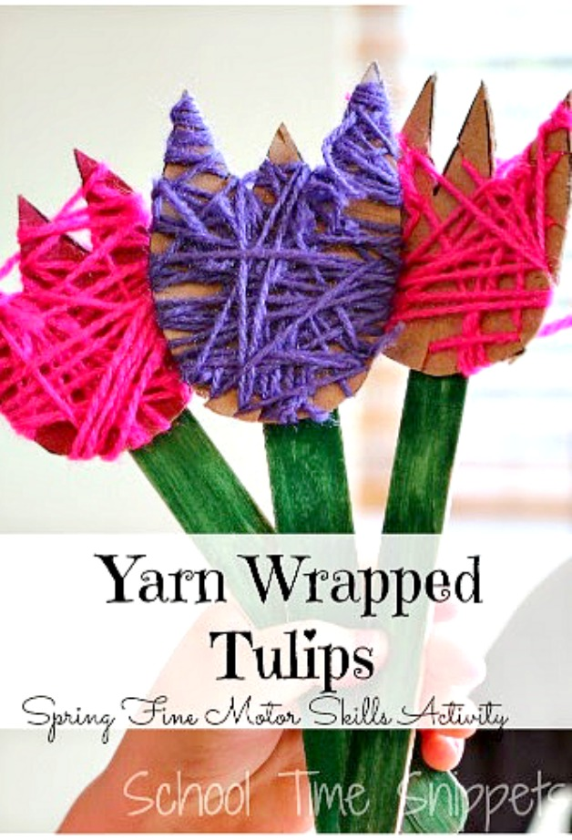 yarn wrapped spring flower craft for kids
