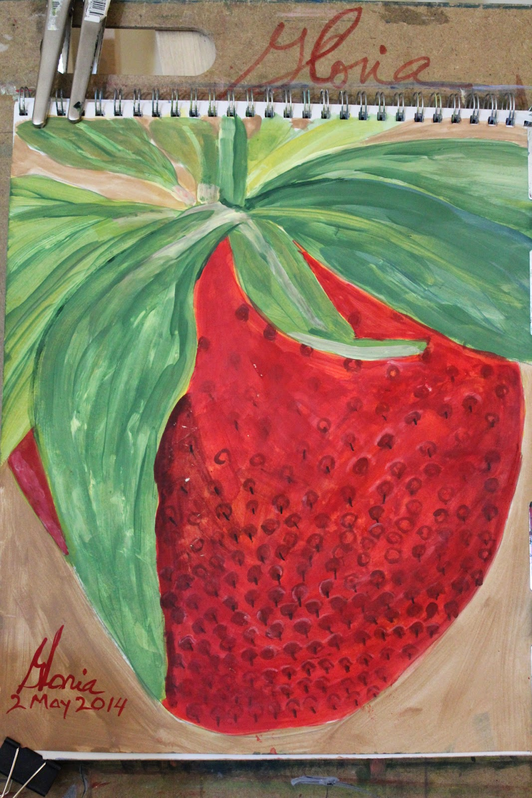 14x17 strawberry sketch by Gloria Poole of Missouri 2-May-2014; acrylics