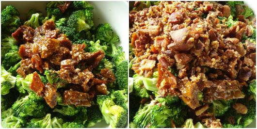 dressing the broccoli salad