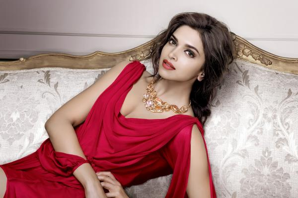 Bollywood Actress Deepika Padukone Photoshoot In Red Dress