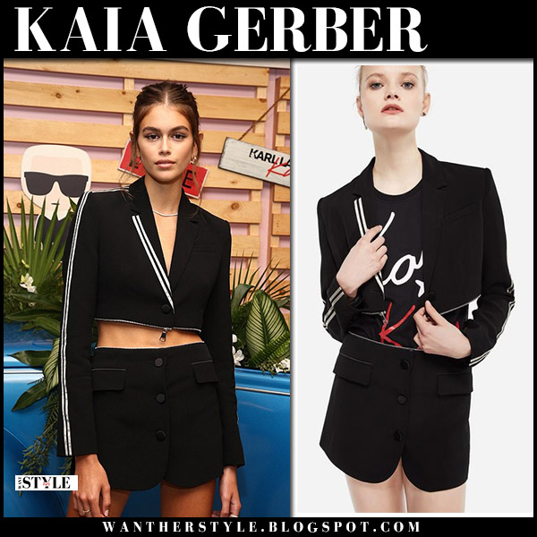 Kaia Gerber in black cropped zip off blazer dress karl x kaia collection august 30