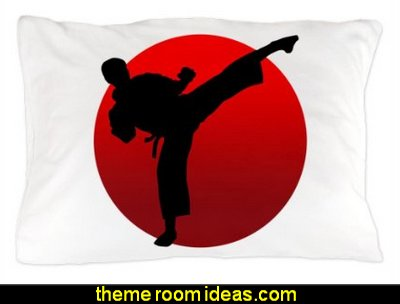 KARATE keri Pillow Case  martial arts theme bedrooms - Karate bedroom ideas - Martial Arts bedroom decor - Martial Arts Bedding - Kung Fu Fighting - Oriental style decorating Asian themed - taekwondo