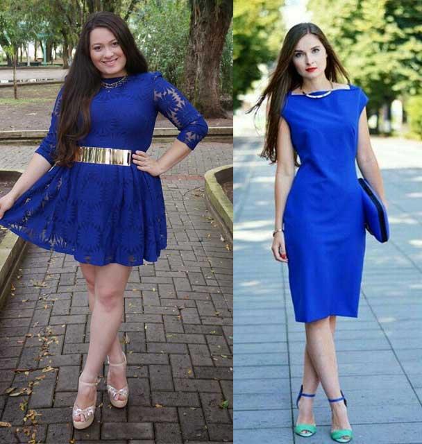zapatos con vestido azul