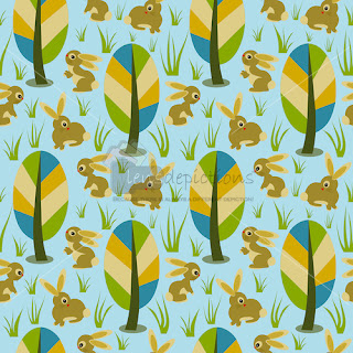 Seamless pattern vector rabbits in woods
