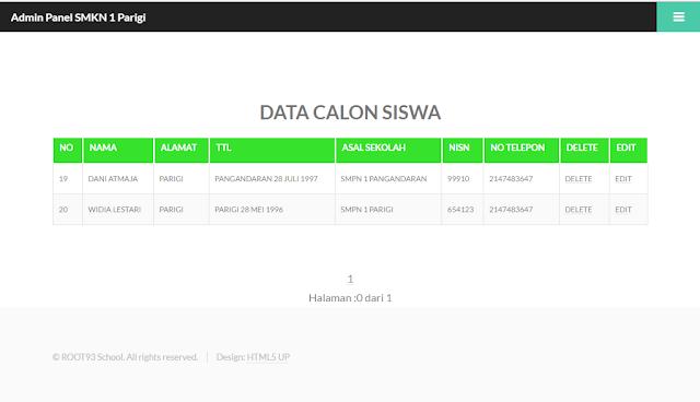 halaman menampilkan data siswa yang masuk