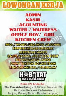Lowongan Kerja Lampung Juni 2018 di Habitat BBQ & Social House Lampung Terbaru