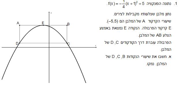 """תרגיל מתמטיקה מפמ""""ר כיתה ט - פרבולה ומלבן במערכת צירים"""