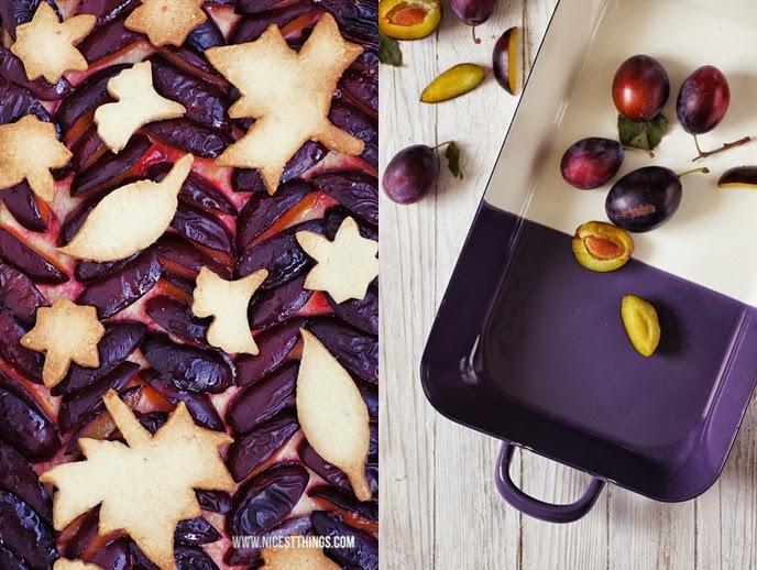 Pflaumen Cheesecake mit Streuseln aus Herbstblätter Cookies