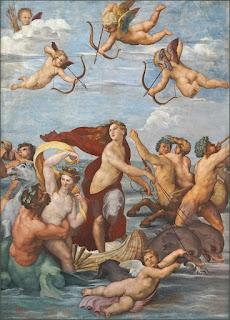Raphael's fresco The Triumph of Galatea. in the loggia at the Villa Farnesina