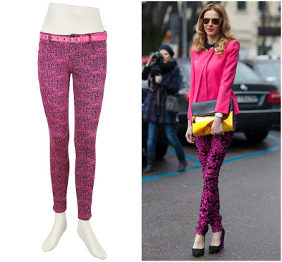 Pink colour Jeans, Printed Pink Jeans
