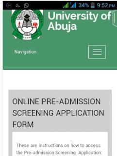 UNIABUJA Pre-Admission Screening Registration 2016/2017 Announced