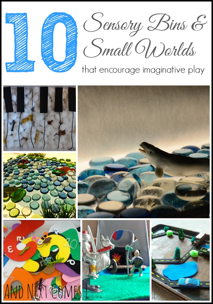 10 sensory bins and small worlds that encourage imaginative play {Plus, Safari TOOBS Giveaway!} from And Next Comes L