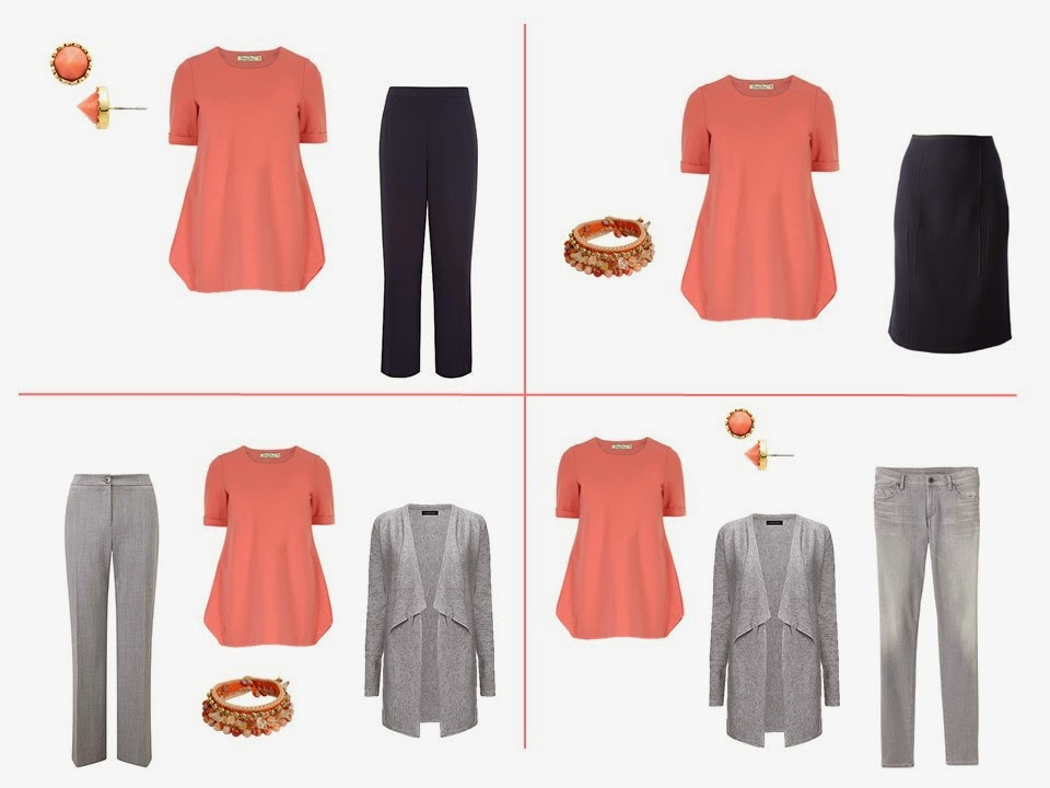 wear coral and navy together, wear coral and grey together